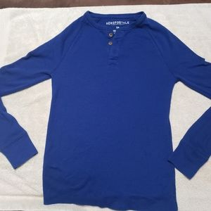 Aeropostale Long Sleeve Solid Henley Thermal Tee